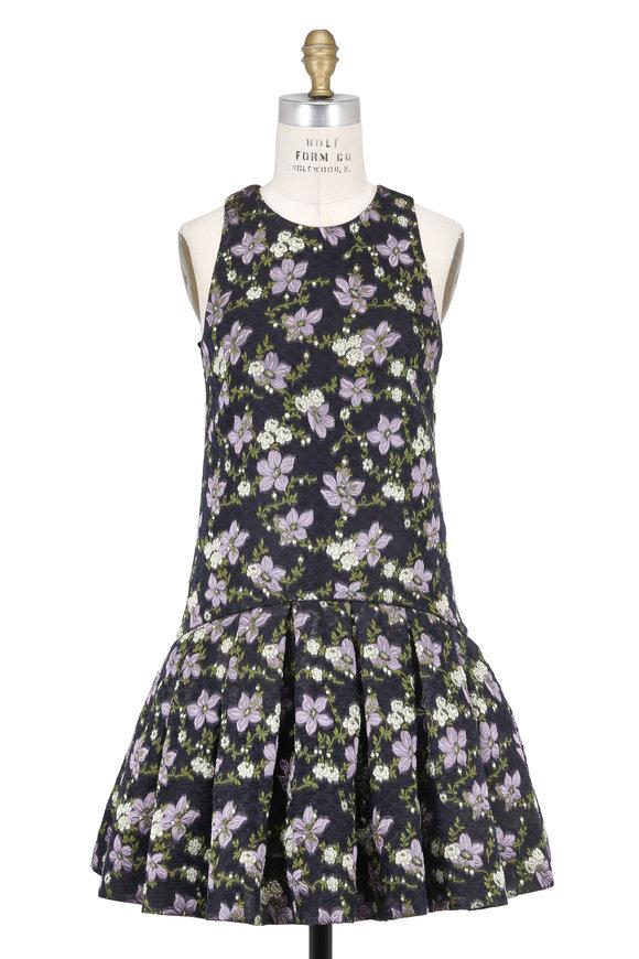 Alexander McQueen Black Jacquard Trailing Clematis Sleeveless Dress