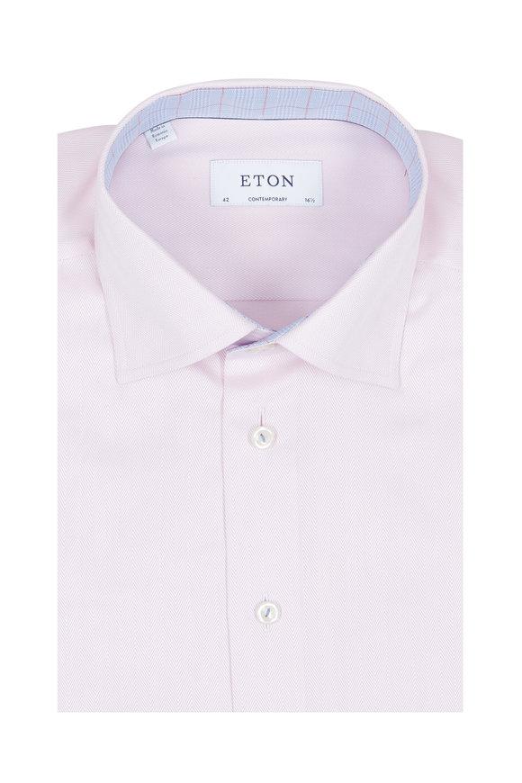 Eton Light Pink Striped Contemporary Fit Dress Shirt