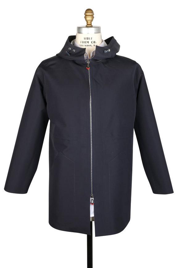 Kiton Navy Blue Hooded Jacket