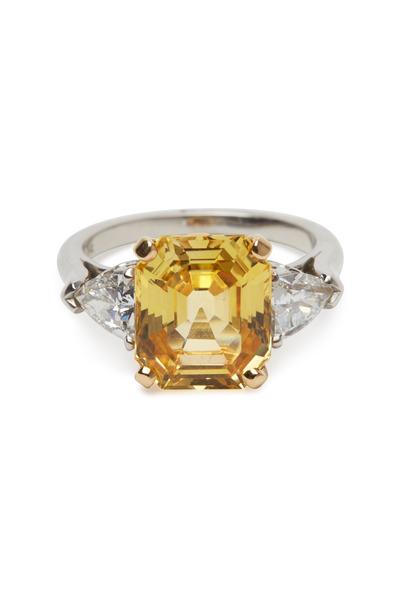 Oscar Heyman - Platinum Yellow Sapphire White Diamond Ring