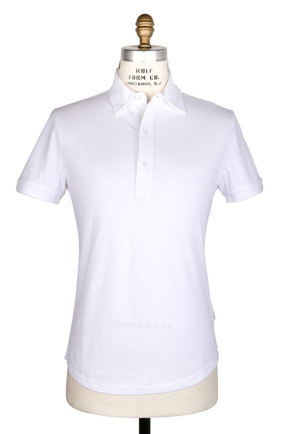 Orlebar Brown Sebastian White Tailored Fit Piqué Polo