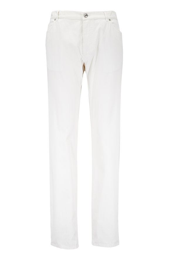 Brunello Cucinelli Cream Stretch Cotton Five Pocket Pant
