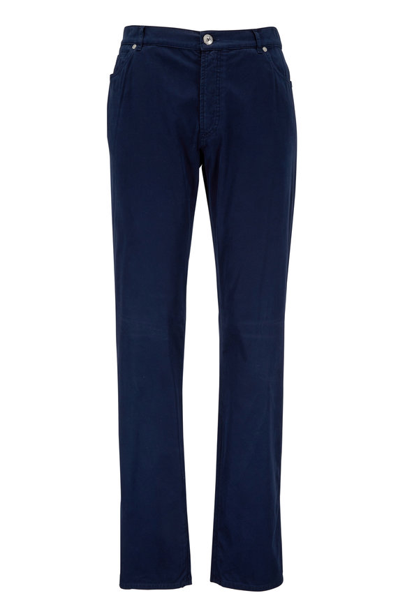 Brunello Cucinelli Navy Stretch Cotton Five Pocket Pant