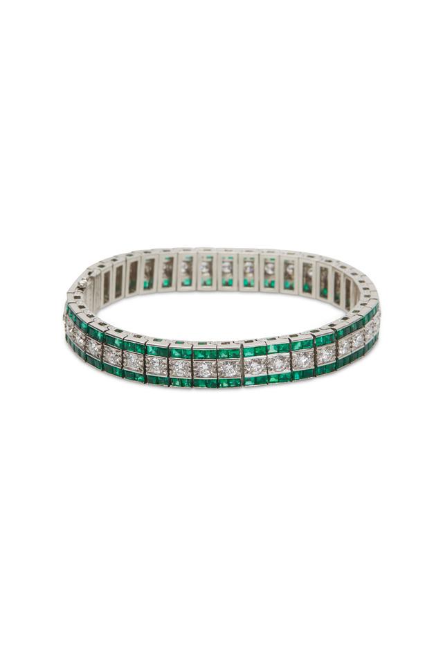 Platinum Emerald White Diamond Bracelet