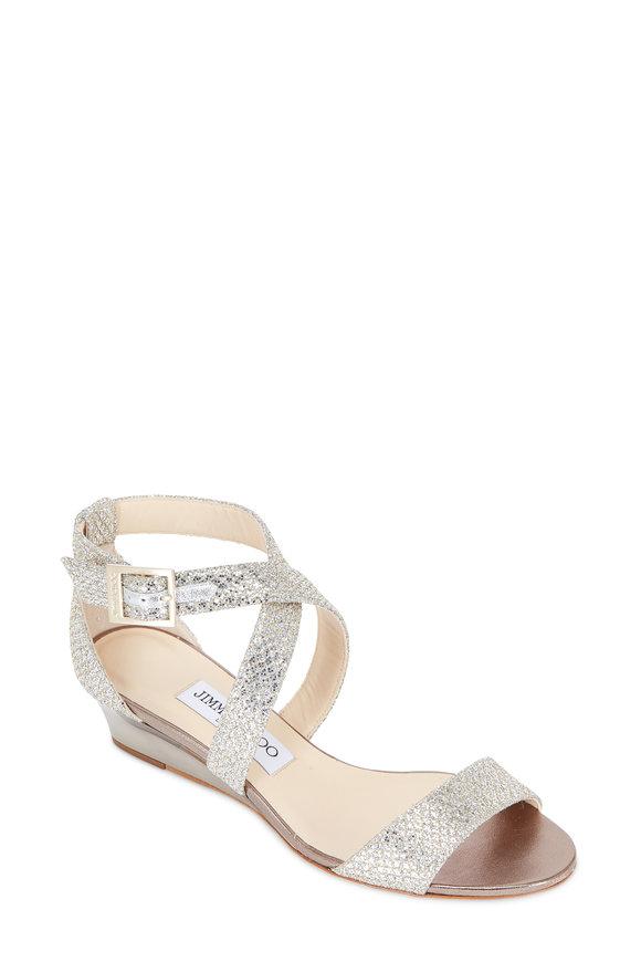 Jimmy Choo Chiara Champagne Glitter Wedge Sandal, 35mm