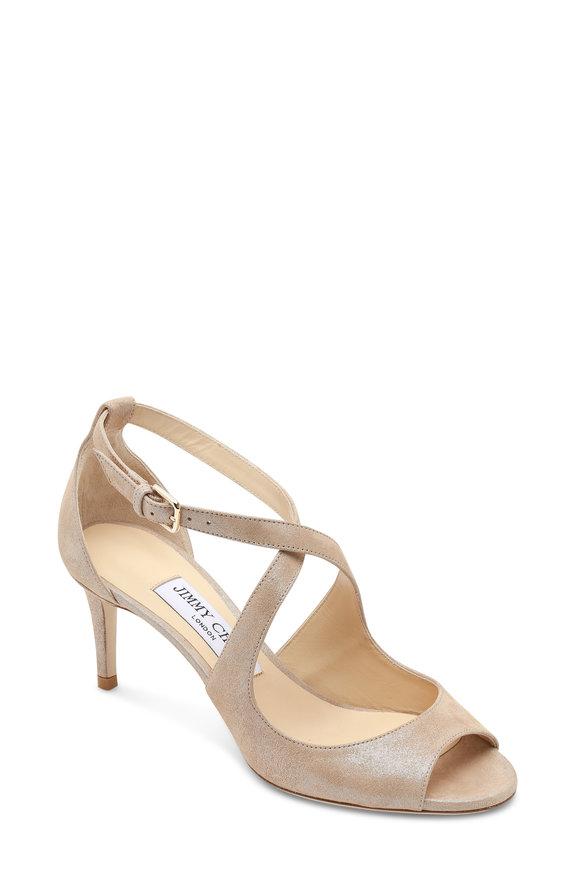 Jimmy Choo Emily Sand Shimmer Criss-Cross Sandal, 65mm