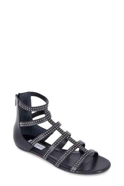 Jimmy Choo - Nix Black Vachetta Leather Gladiator Sandal