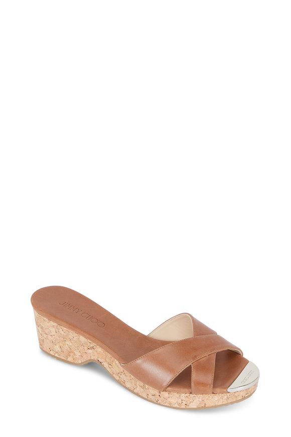 Jimmy Choo Tan Vachetta Leather Cork Wedge Slide, 35mm