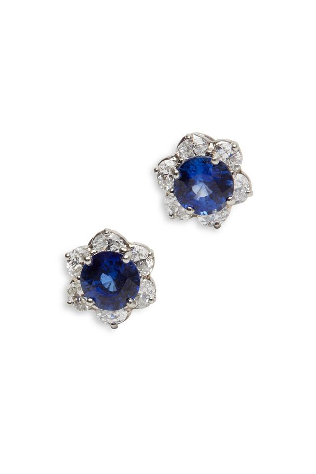 Platinum Blue Sapphire White Diamond Ring
