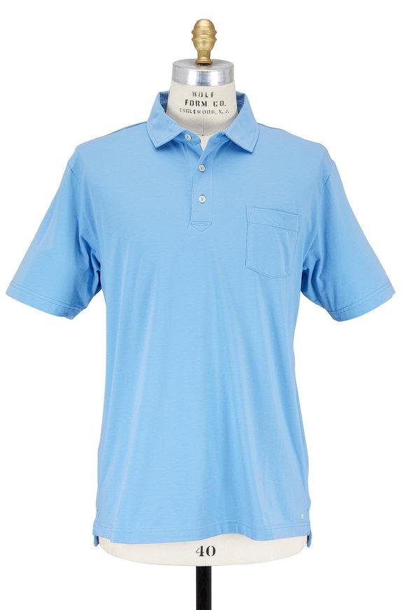 Peter Millar Seaside Wash Light Blue Stretch Jersey Polo