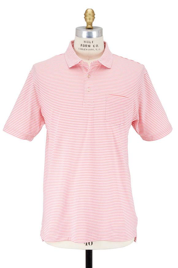 Peter Millar Pink & White Seaside Striped Polo