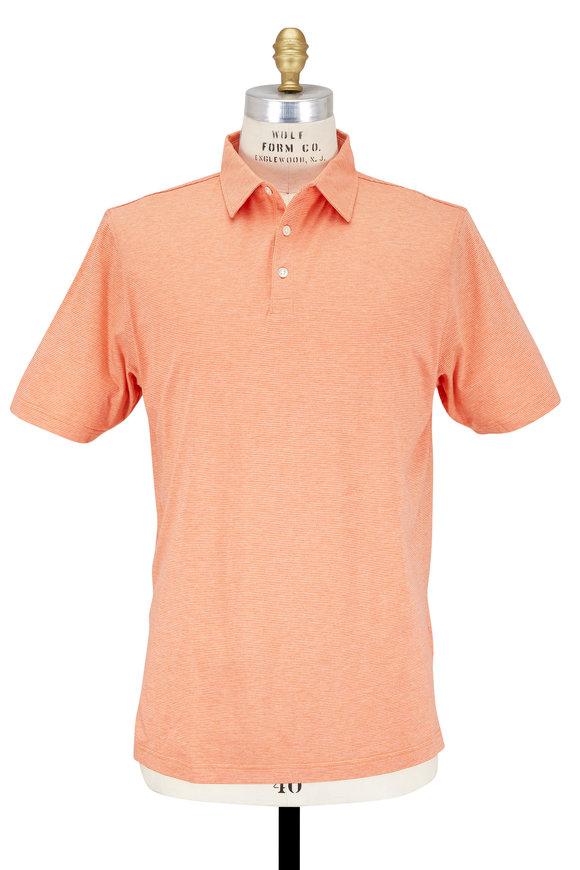 Peter Millar Soft Orange Striped Cotton & Silk Polo