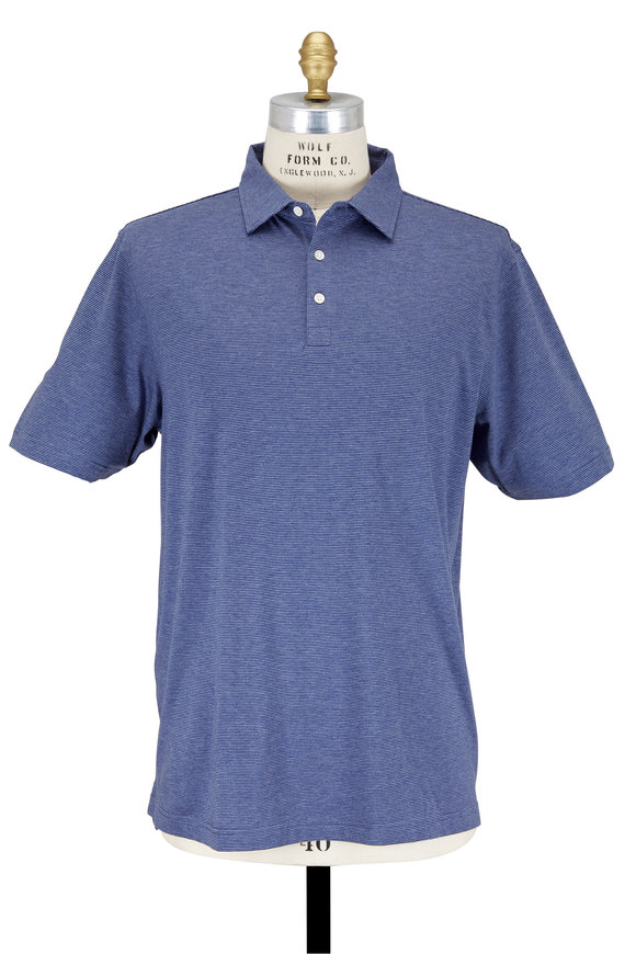 Peter Millar Soft Navy Blue Striped Cotton & Silk Polo