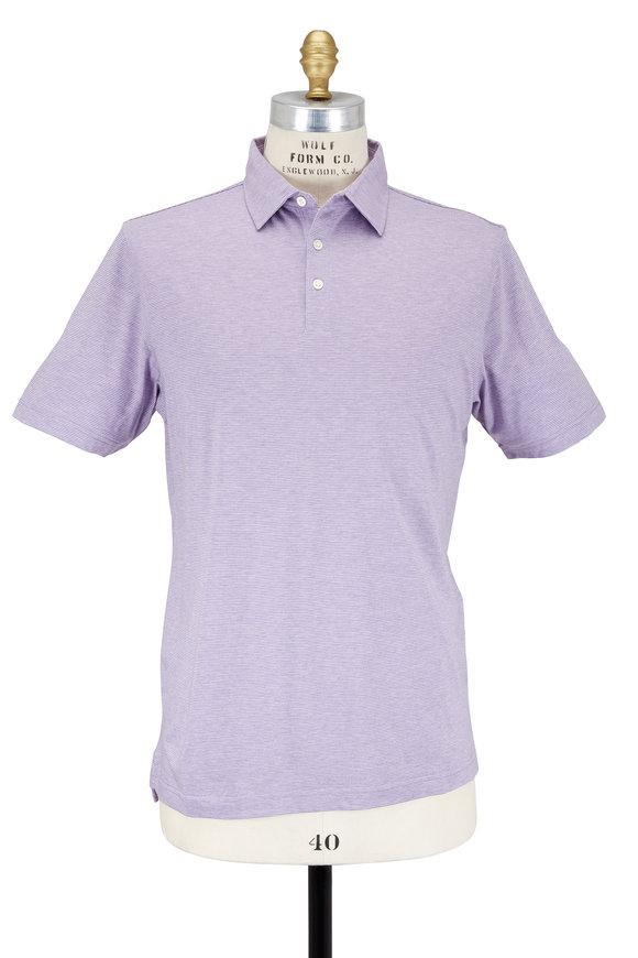 Peter Millar Soft Lilac Striped Cotton & Silk Polo