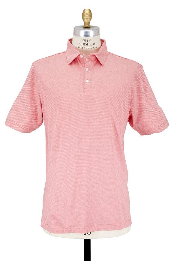 Peter Millar Soft Retro Pink Striped Cotton & Silk Polo