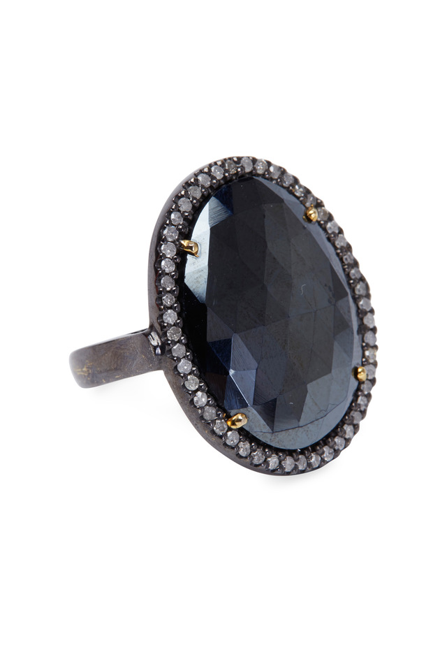 Sterling Silver Black Spinel Diamond Ring