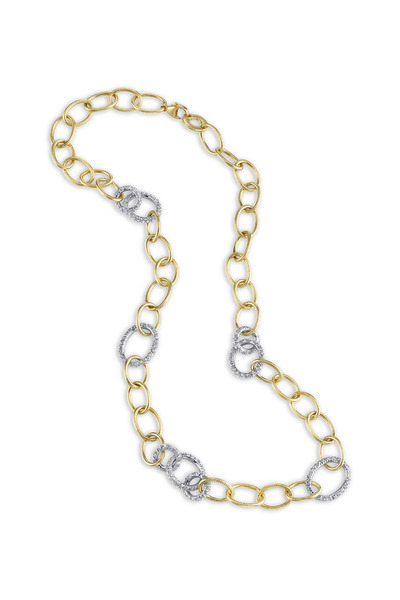 Aaron Henry - Yellow Gold & White Diamond Embrace Link Necklace