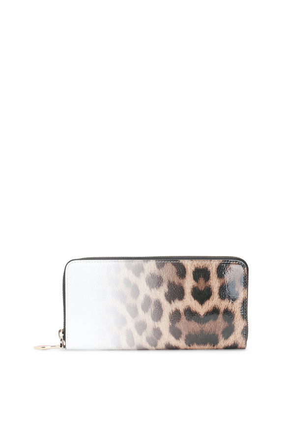 Christian Louboutin White Leopard Degrade Patent Leather Wallet