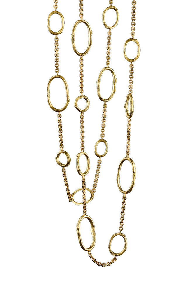 Yellow Gold Olive Branch Chain Link Necklace