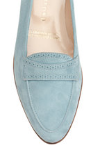 Gravati - Light Blue Suede Perforated Strap Loafer