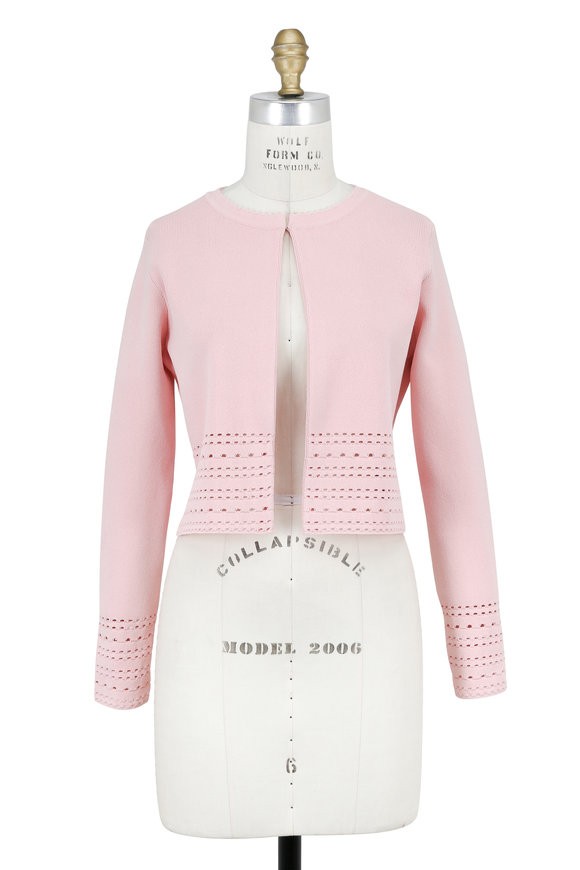 Lela Rose Blush Pointelle Textured Knit Jacket