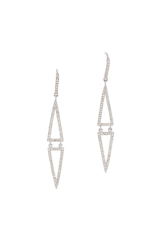 Dilara Saatci Double Triangle Diamond Drop Earrings
