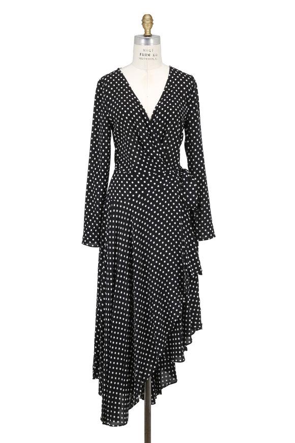 Zimmermann Stranded Black & White Polka Dot Wrap Dress