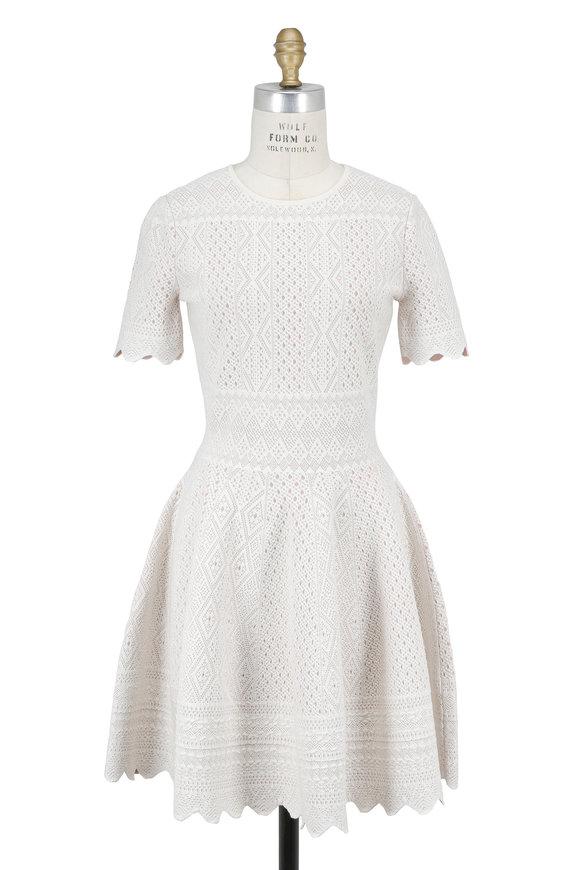 Alexander McQueen Ecru Jacquard Short Sleeve Fit & Flare Dress