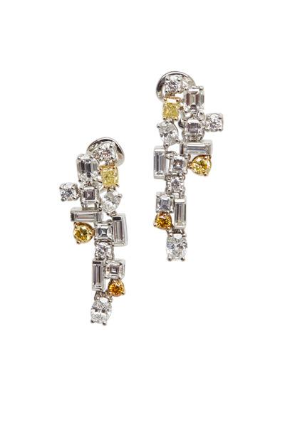 Oscar Heyman - Platinum White & Fancy Yellow Diamond Earrings