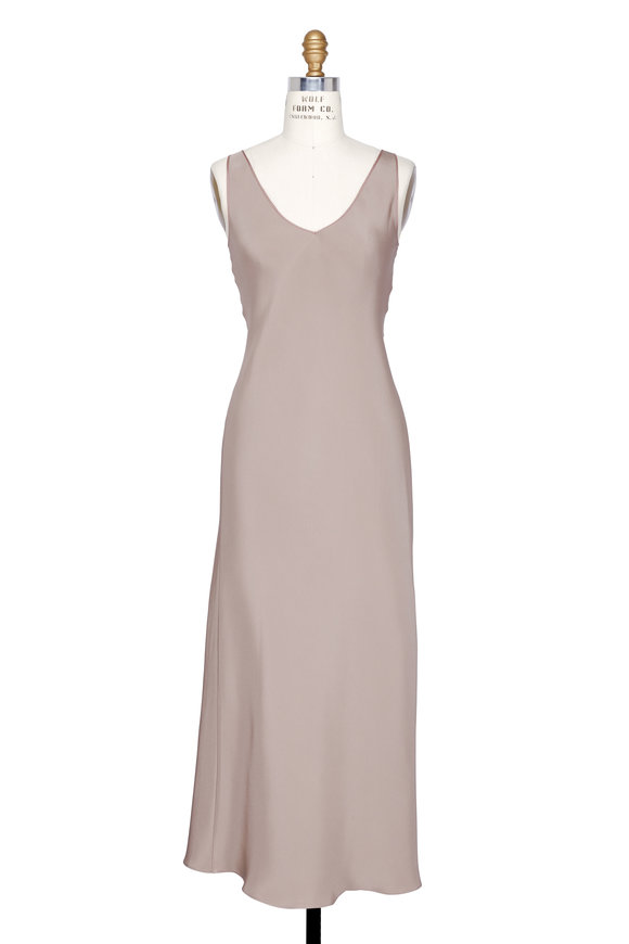 Peter Cohen Taupe Silk V-Neck Slip Dress