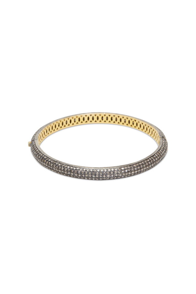 Gold & Silver Pavé-Set Diamond Narrow Bracelet