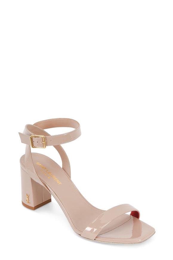 Saint Laurent Loulou Nude Patent Leather Sandal, 70mm