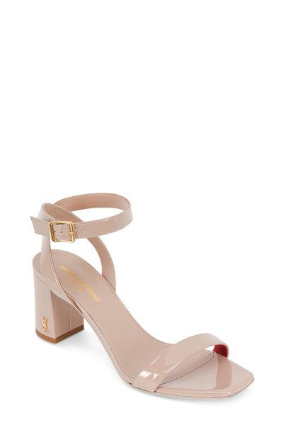 Saint Laurent - Loulou Nude Patent Leather Sandal, 70mm