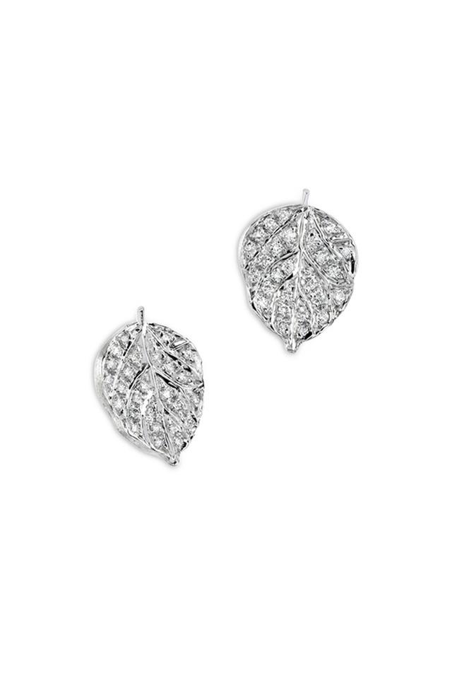 White Gold Pavé-Set Diamond Aspen Leaf Earrings
