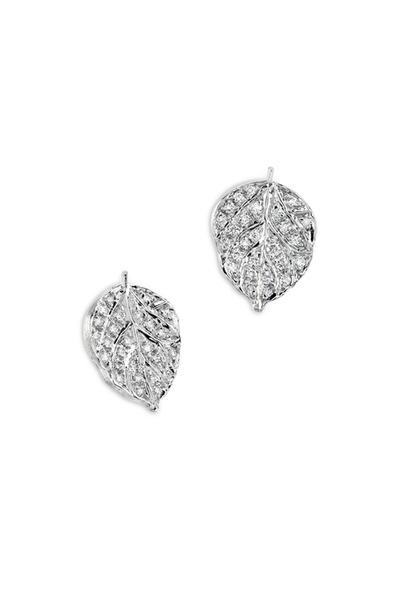 Aaron Henry - White Gold Pavé-Set Diamond Aspen Leaf Earrings