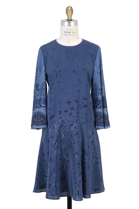 Valentino Blue Silk Swallow Metamorphosis Cape Sleeve Dress