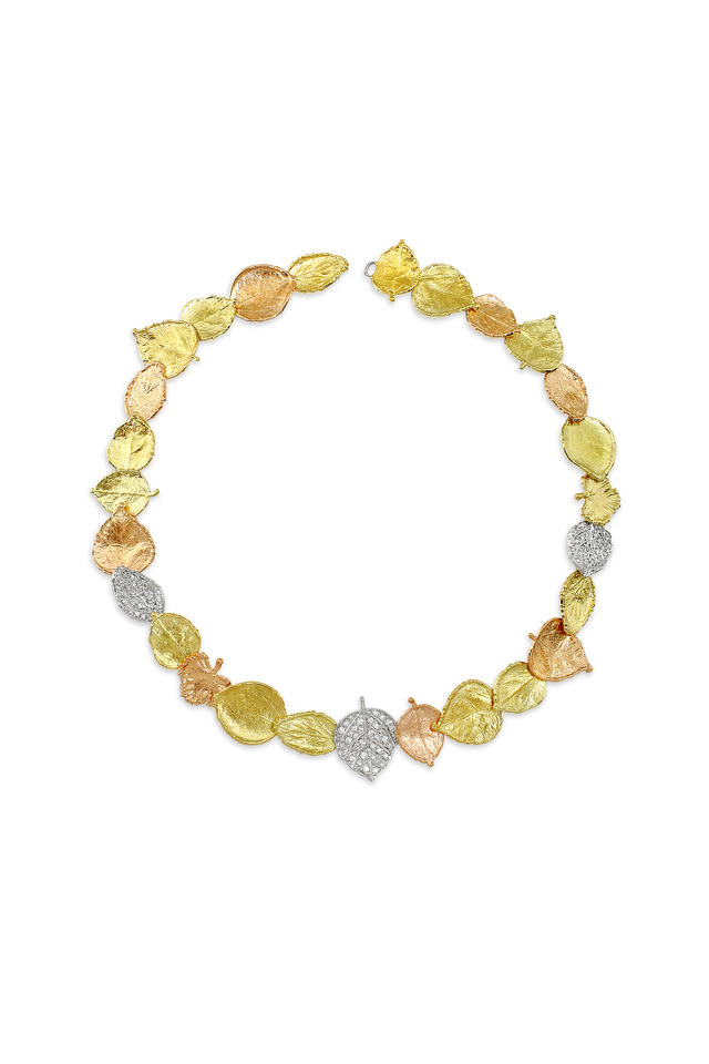 Yellow, Rose & White Gold Leaf Diamond Necklace