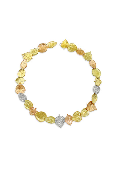 Aaron Henry - Yellow, Rose & White Gold Leaf Diamond Necklace