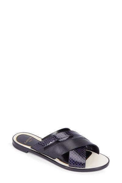 Lanvin - Black Leather & Navy Snakeskin Criss-Cross Slide