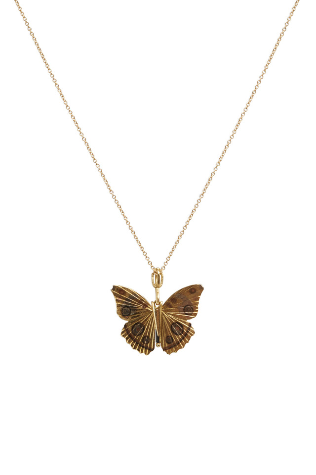 Butterfly Yellow Gold Buckeye Necklace