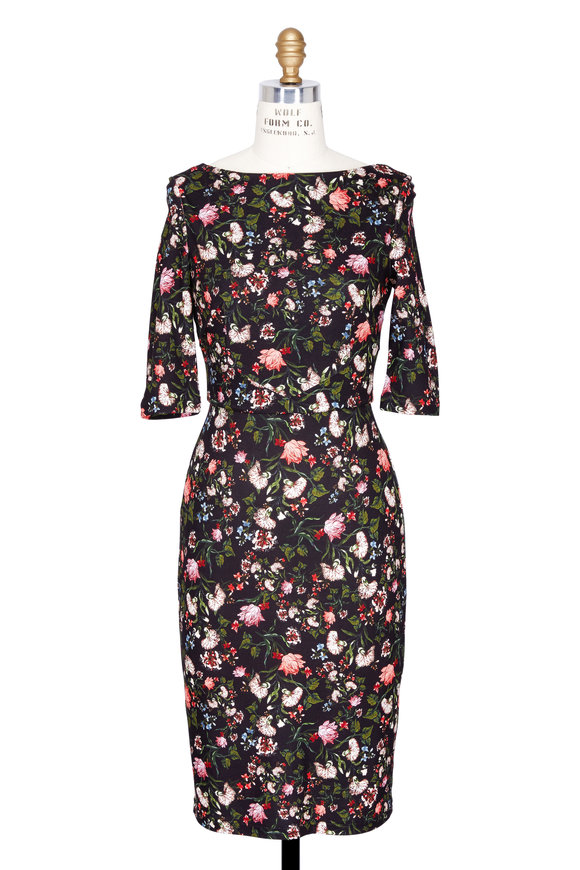 Erdem Kirsten Convertine Black Floral Bateau Neck Dress