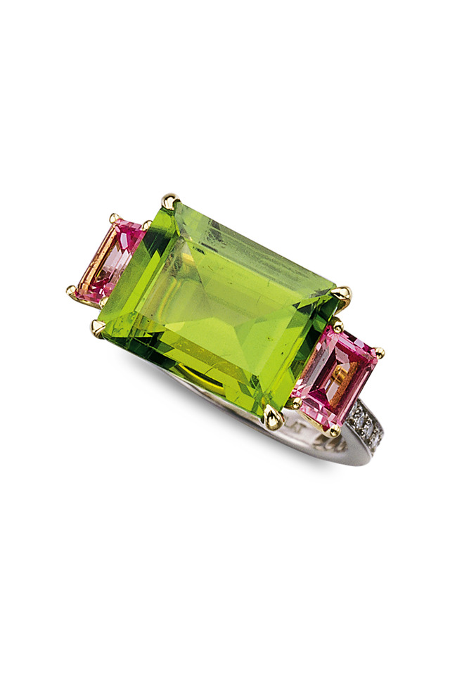 Gold Green Peridot Pink Sapphire Pavé Diamond Ring