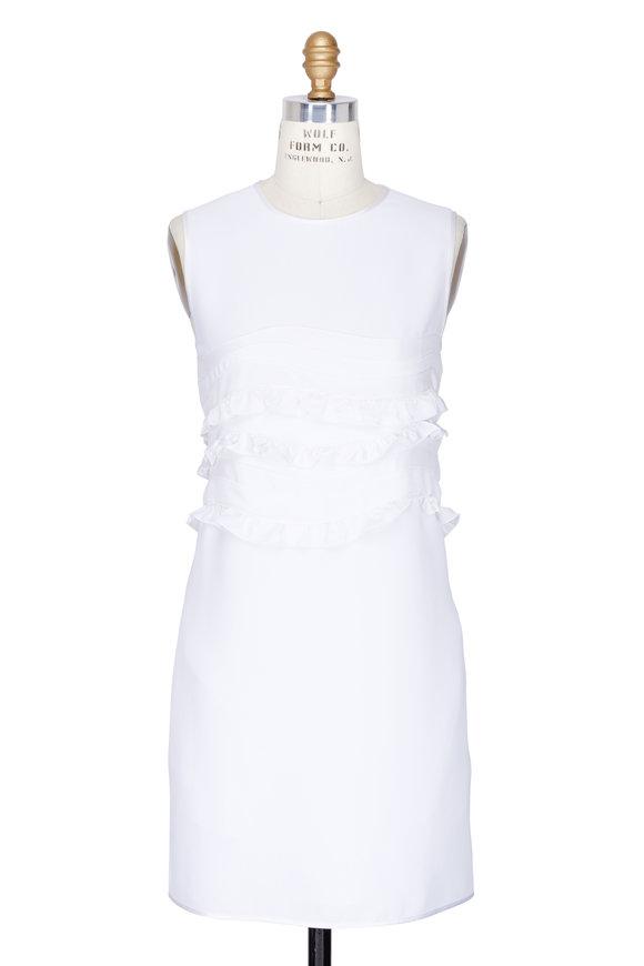 Victoria, Victoria Beckham White Ruffle Detail Sleeveless Shift Dress