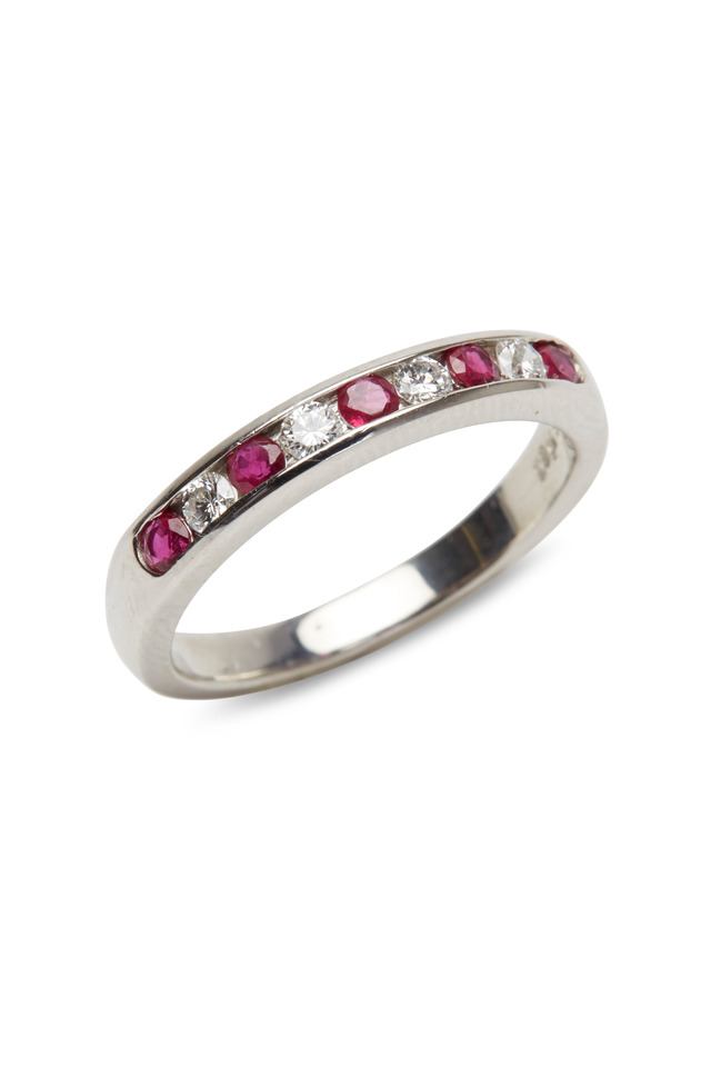 Platinum Ruby & White Diamond Guard Ring
