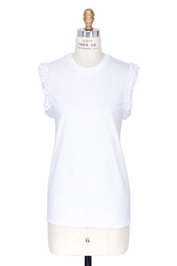 Victoria, Victoria Beckham White Ruffled Cap Sleeve Knit Top