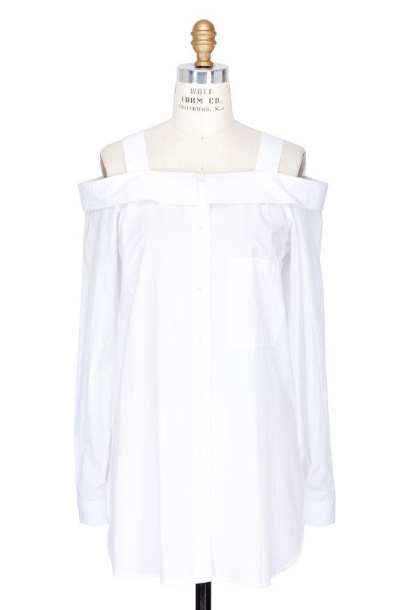 Robert Rodriguez White Cold Shoulder Oversized Blouse