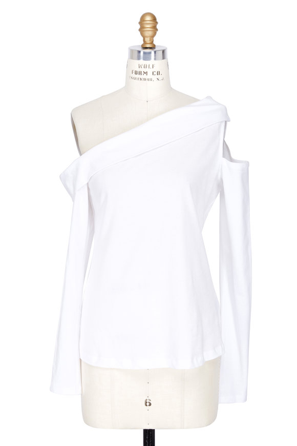 Robert Rodriguez White Draped One Shoulder Long Sleeve Top