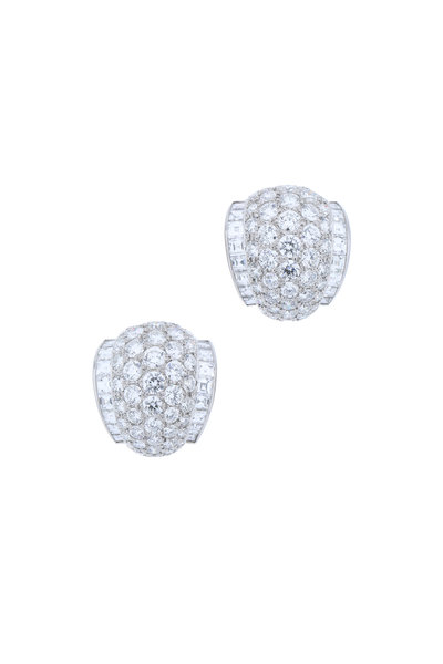 Oscar Heyman - Platinum Round White Diamonds Earrings