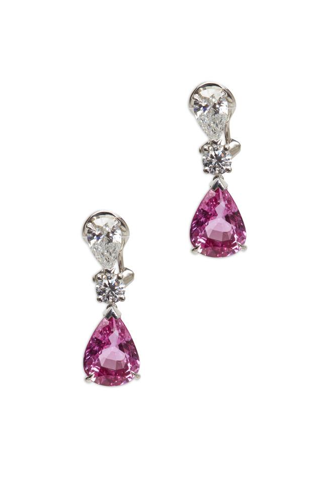 Platinum Pink Sapphire & Diamond Earrings