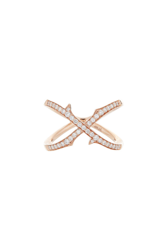 Stephen Webster 18K Rose Gold Diamond Crossover Thorn Ring